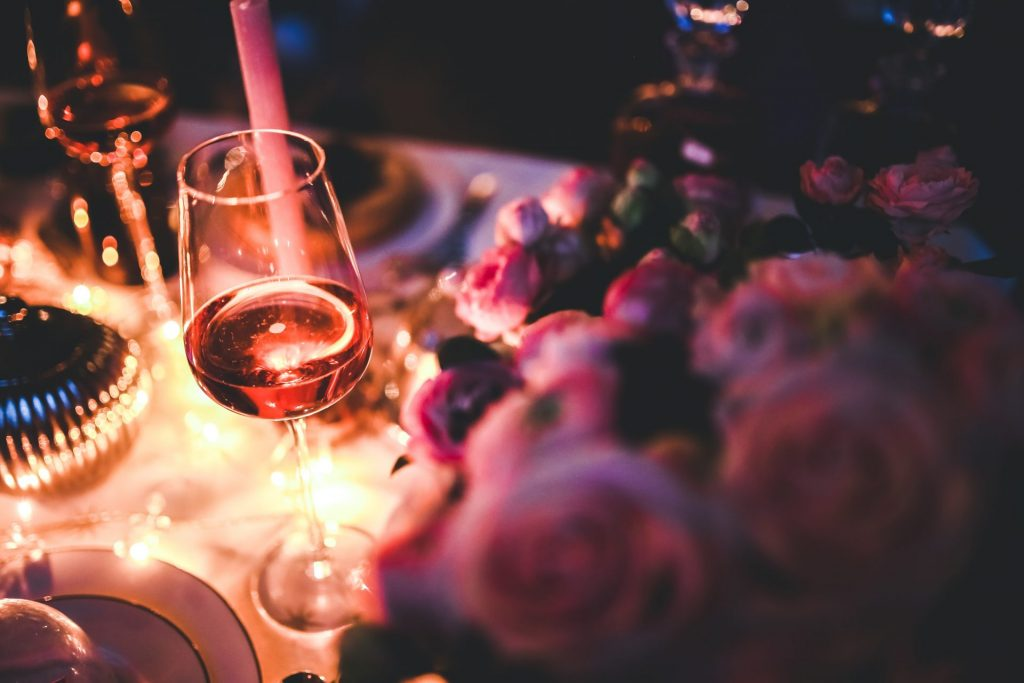 Classy dinner with wine and roses